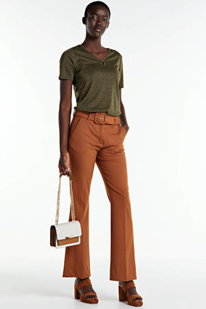 bootcut broek Clara Long Belted camel