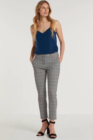 geruite slim fit pantalon Kylie Crop grijs/multi