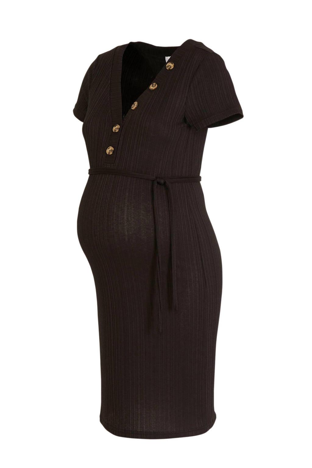 MAMALICIOUS zwangerschapsjurk Nico met ceintuur zwart, Zwart