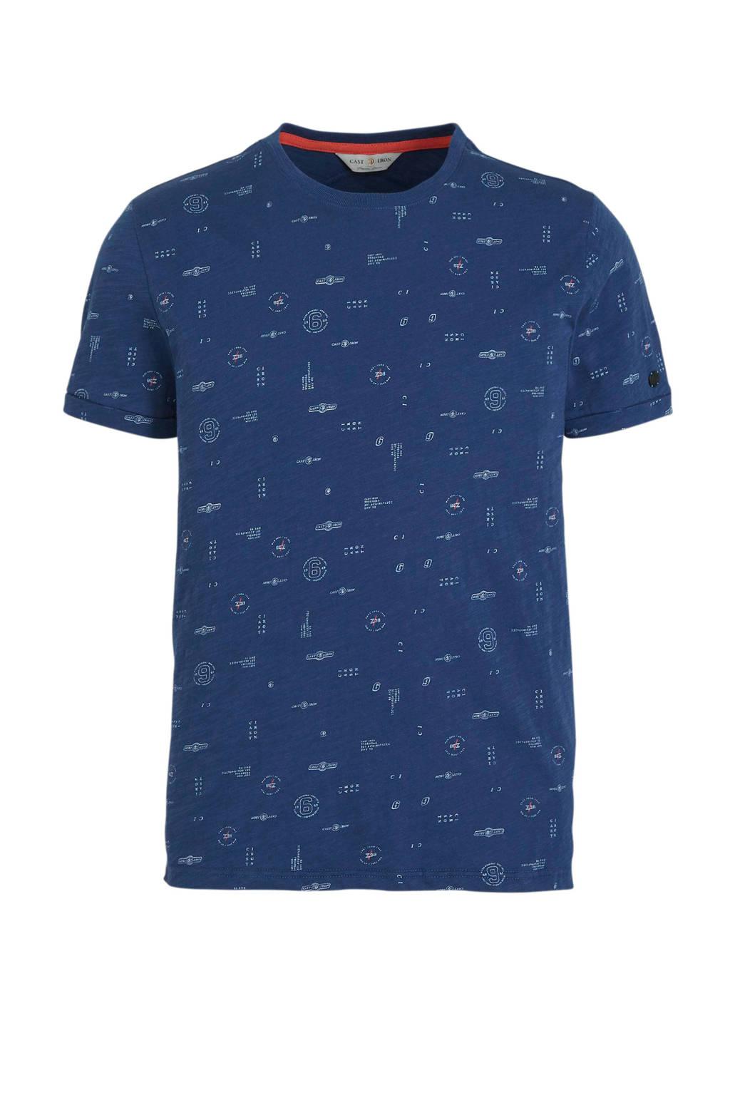 Cast Iron T-shirt met all over print donkerblauw, Donkerblauw
