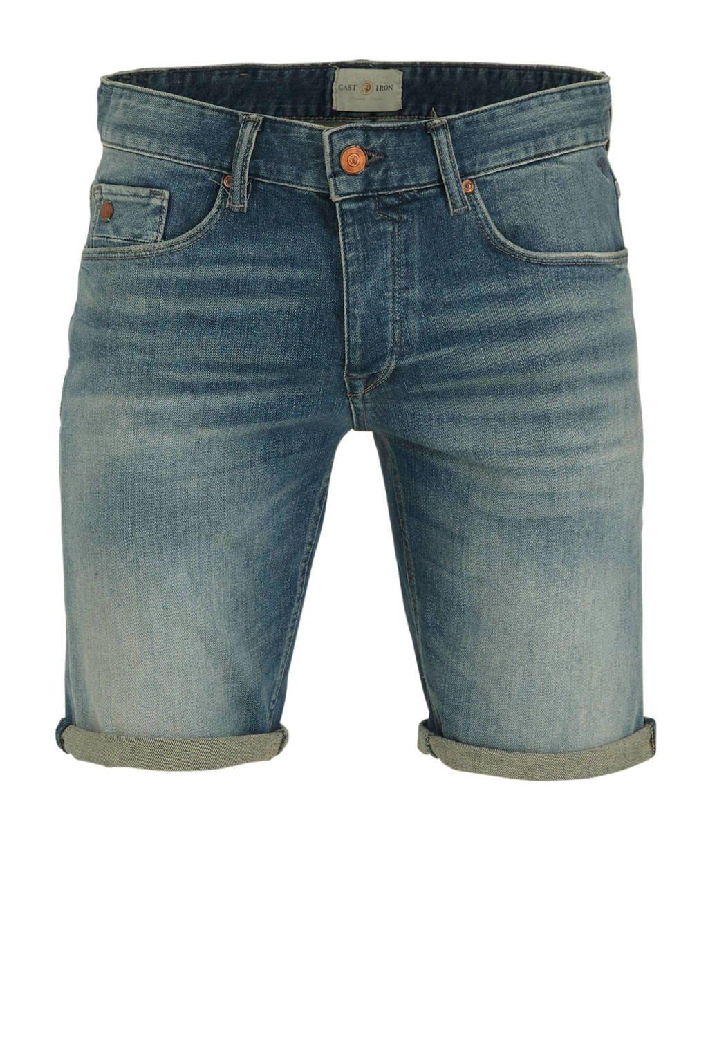 Cast Iron slim fit jeans short blauw, Blauw