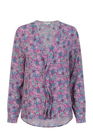 blouse met all over print paars