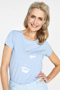 PROMISS T-shirt met printopdruk blauw, Blauw