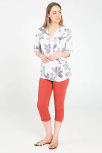 Cassis gebloemde linnen top wit/grijs, Wit/grijs
