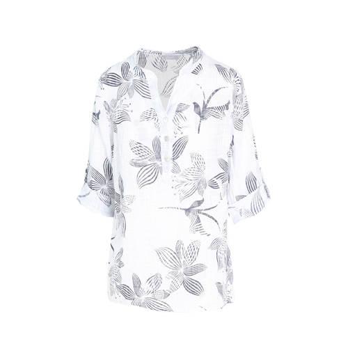 Cassis gebloemde linnen top wit/grijs
