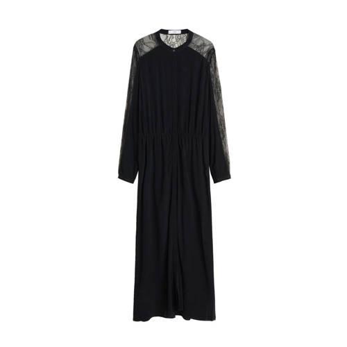Mango maxi jurk met kant zwart