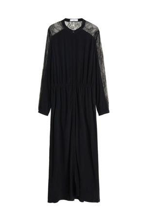maxi jurk met kant zwart