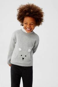 Mango Kids gebreide trui met borduursels grijs/zwart/wit, Grijs/zwart/wit