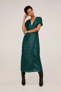 Mango maxi jurk met pailletten groen, Groen