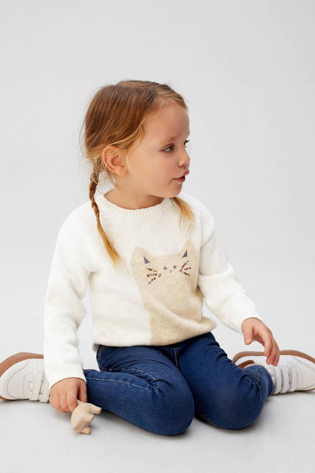 Mango Kids fijngebreide trui met printopdruk ecru/beige, Ecru/beige