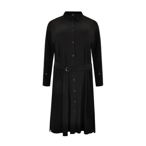 Yoek blousejurk met ceintuur zwart