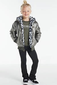WE Fashion reversible imitatiebont winterjas zwart/wit/metallic, Zwart/wit/metallic