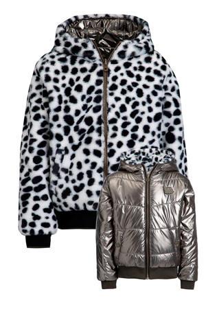 reversible winterjas zwart/wit/metallic