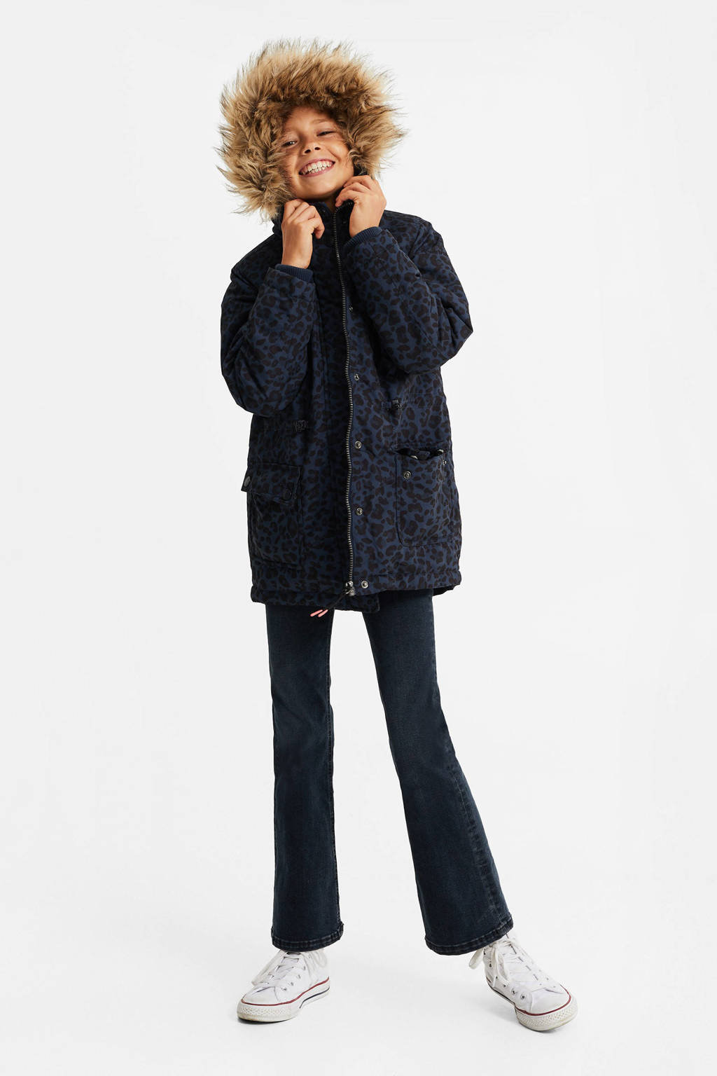 WE Fashion winterjas met panterprint donkerblauw, Donkerblauw