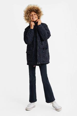 winterjas met panterprint donkerblauw