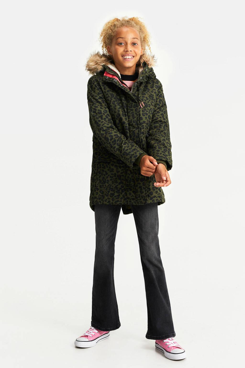 WE Fashion parka winterjas met panterprint groen, Groen