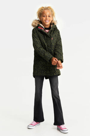 parka winterjas met panterprint groen