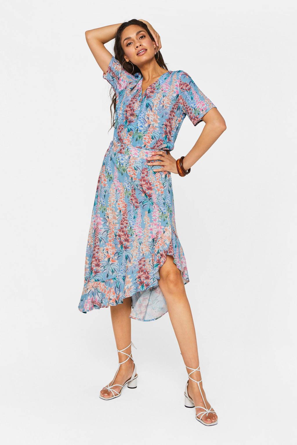 WE Fashion rok met all over print lichtblauw/multi, Lichtblauw/multi