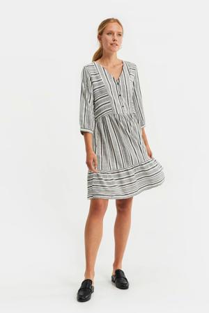 gestreepte jurk antraciet/wit