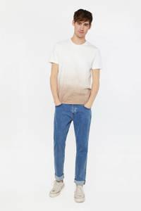 WE Fashion dip-dye T-shirt beige/wit, Beige/wit