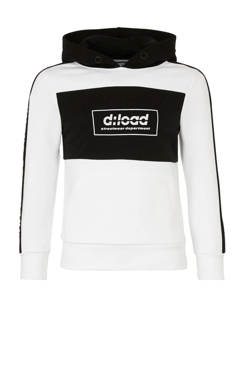 C&A Here & There hoodie met contrastbies wit/zwart, Wit/zwart