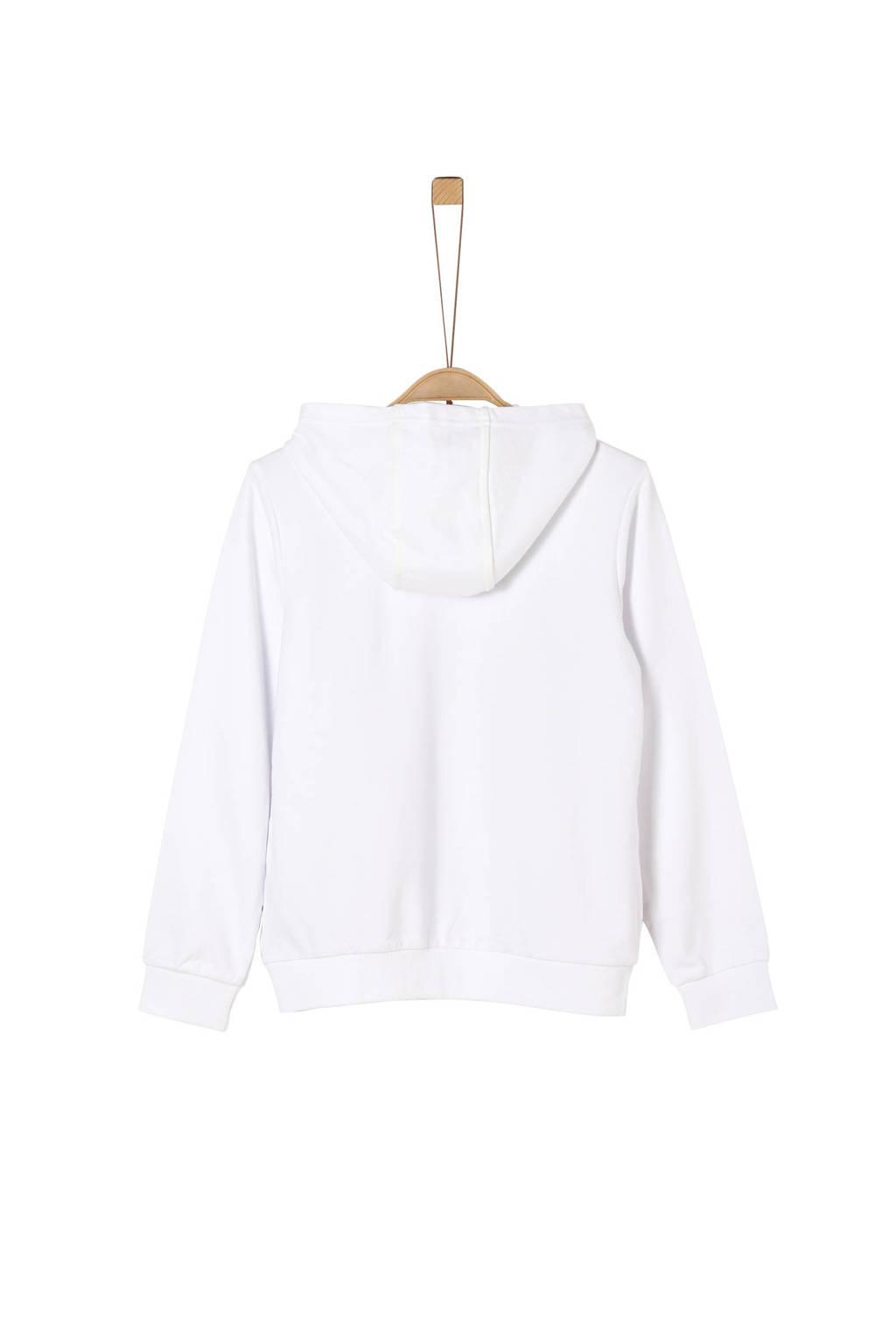 s.Oliver hoodie met printopdruk wit/rood/zwart, Wit/rood/zwart