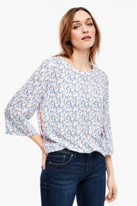 s.Oliver top met all over print wit/blauw/rood, Wit/blauw/rood