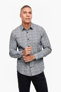 s.Oliver regular fit overhemd met all over print grijs, Grijs