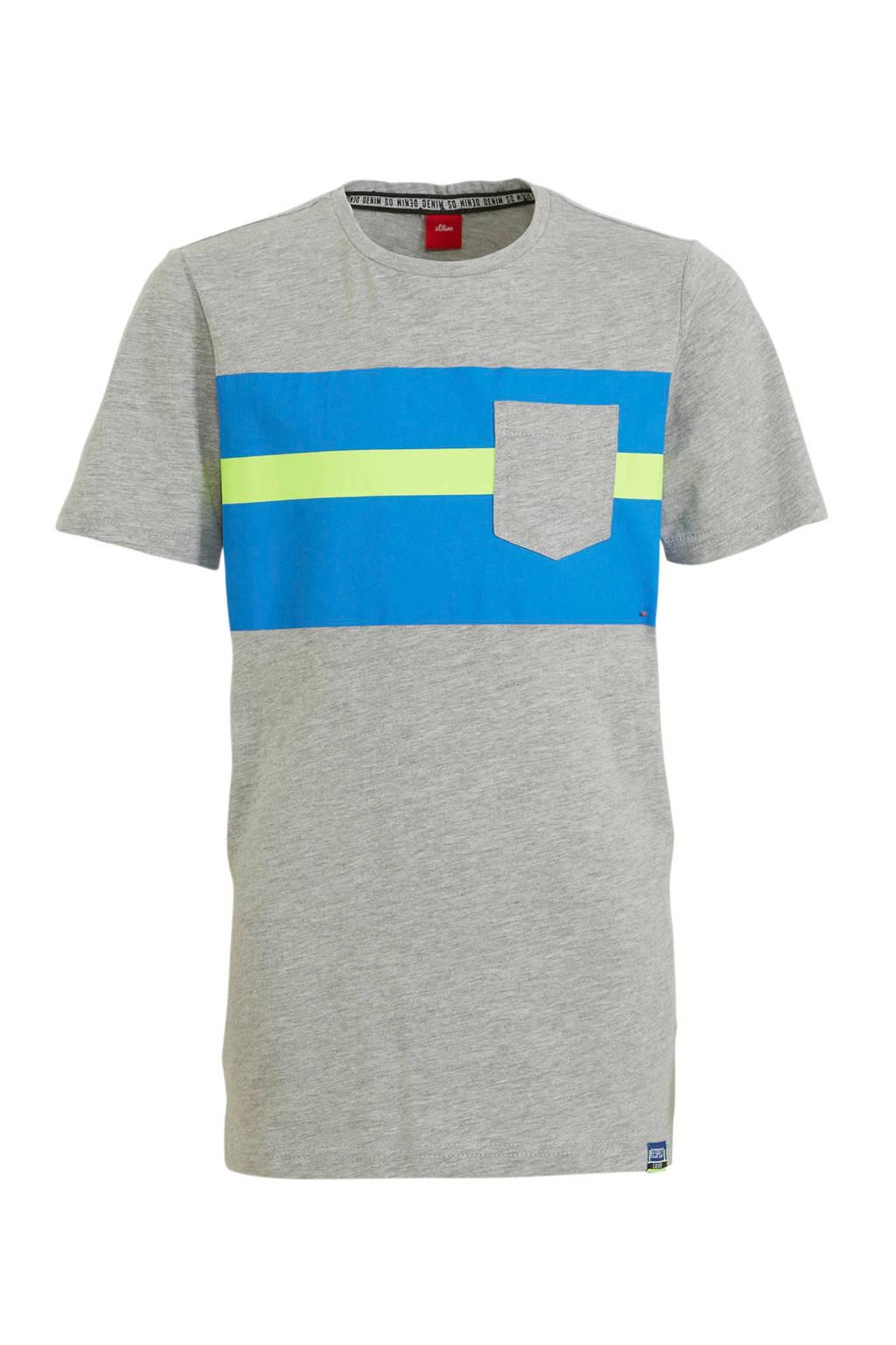 s.Oliver T-shirt grijs/blauw/groen, Grijs/blauw/groen