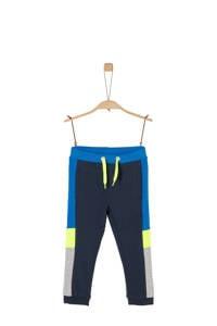 s.Oliver   joggingbroek met zijstreep donkerblauw/neon geel/grijs, Donkerblauw/neon geel/grijs