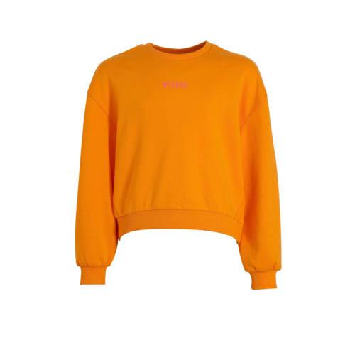 s.Oliver sweater met tekst oranje/roze