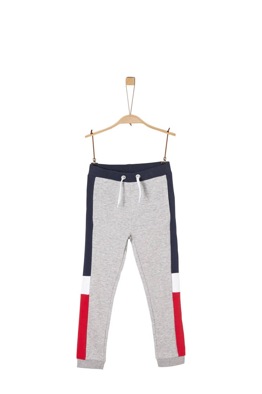 s.Oliver   joggingbroek met zijstreep grijs/donkerblauw/rood, Grijs/donkerblauw/rood