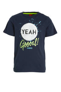 s.Oliver T-shirt met printopdruk en pailletten donkerblauw, Donkerblauw