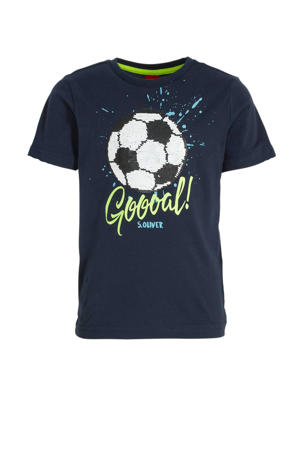 T-shirt met printopdruk en pailletten donkerblauw