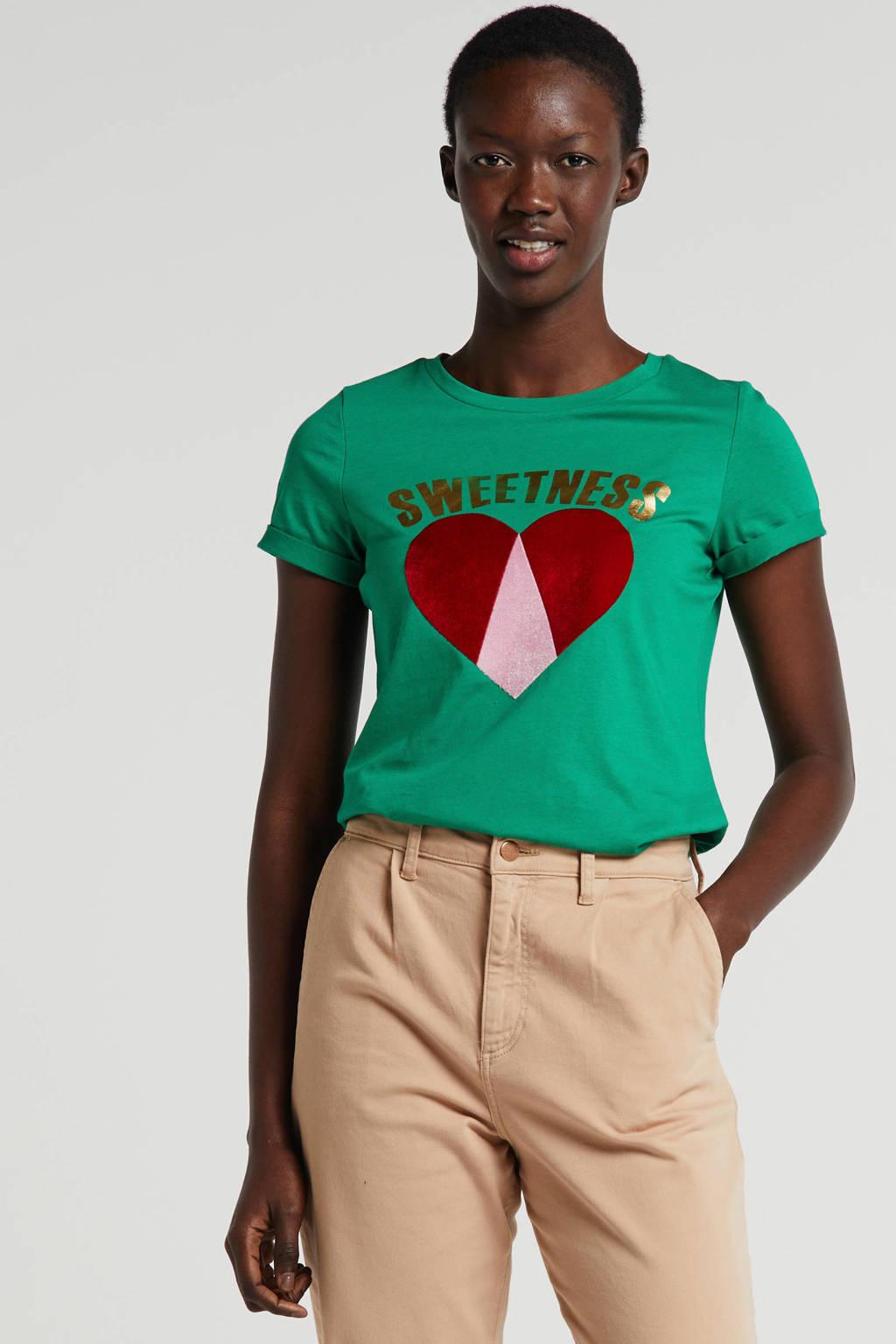 Q/S designed by T-shirt met printopdruk groen, Groen