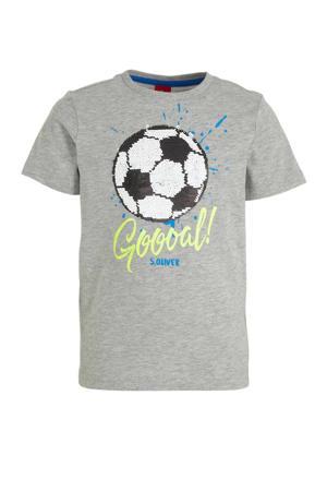 T-shirt met printopdruk en pailletten grijs/lichtgeel/blauw