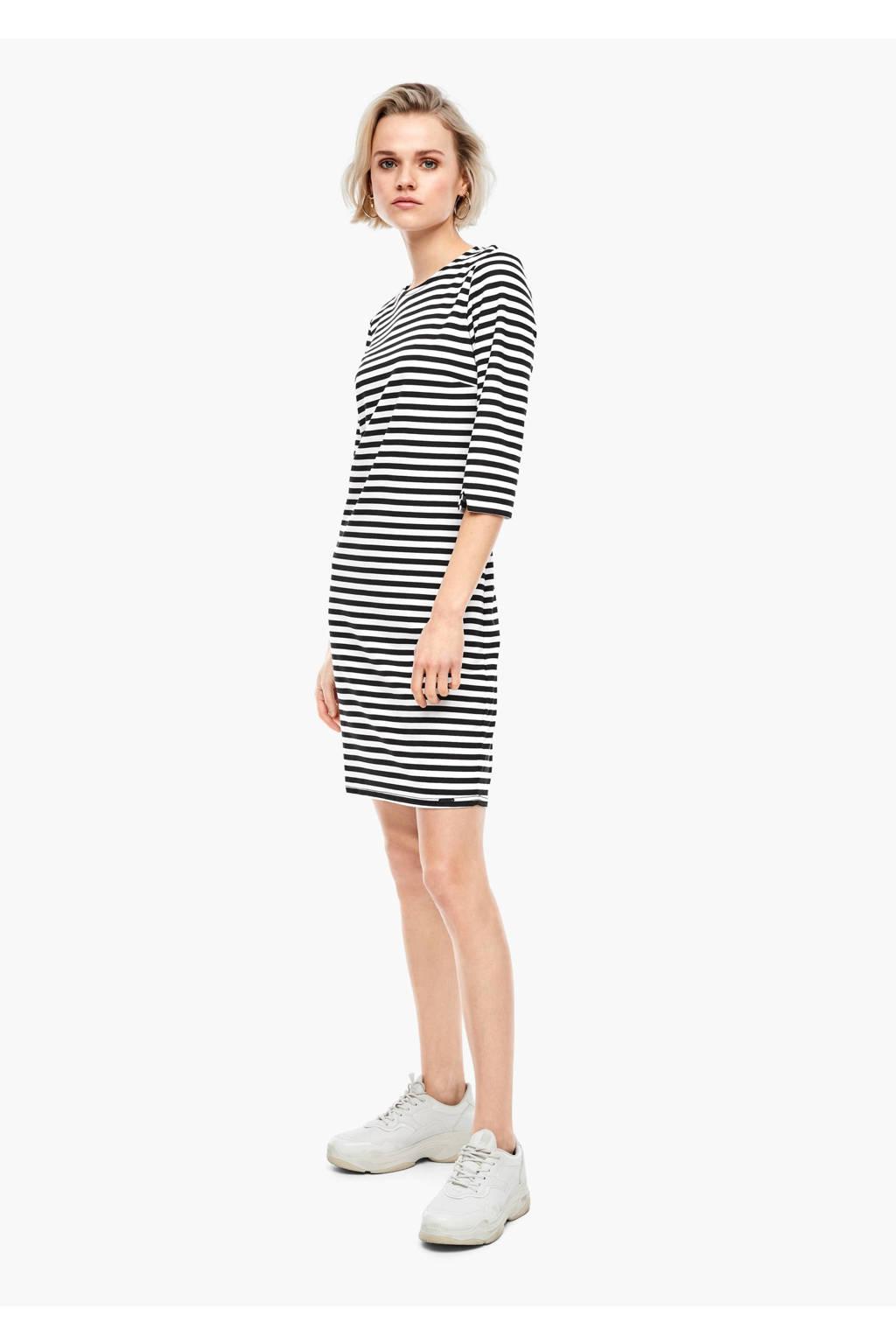 Q/S designed by gestreepte jersey jurk zwart/wit, Zwart/wit