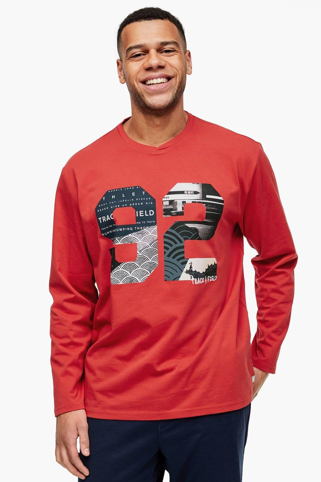 s.Oliver T-shirt met printopdruk rood Big size, Rood