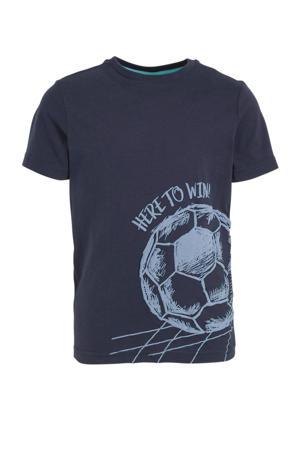 T-shirt met printopdruk donkerblauw/lichtblauw