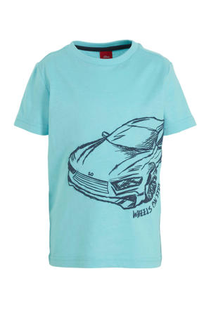 T-shirt met printopdruk blauw/donkerblauw