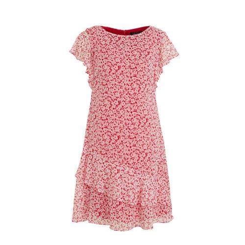 Lauren Ralph Lauren jurk Cyrena met all over print en volant roze rood