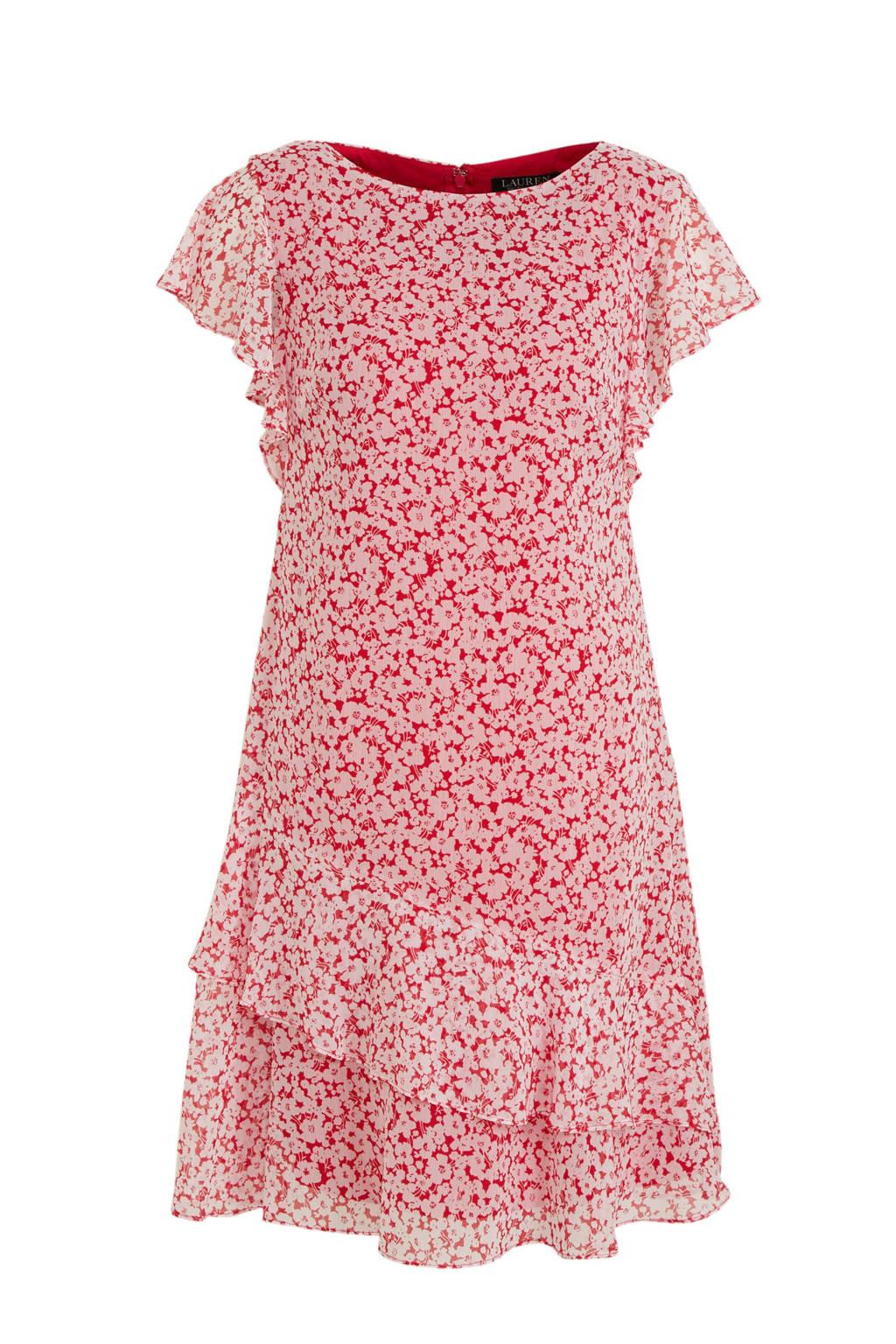 Lauren Ralph Lauren jurk Cyrena met all over print en volant roze/rood, Roze/rood
