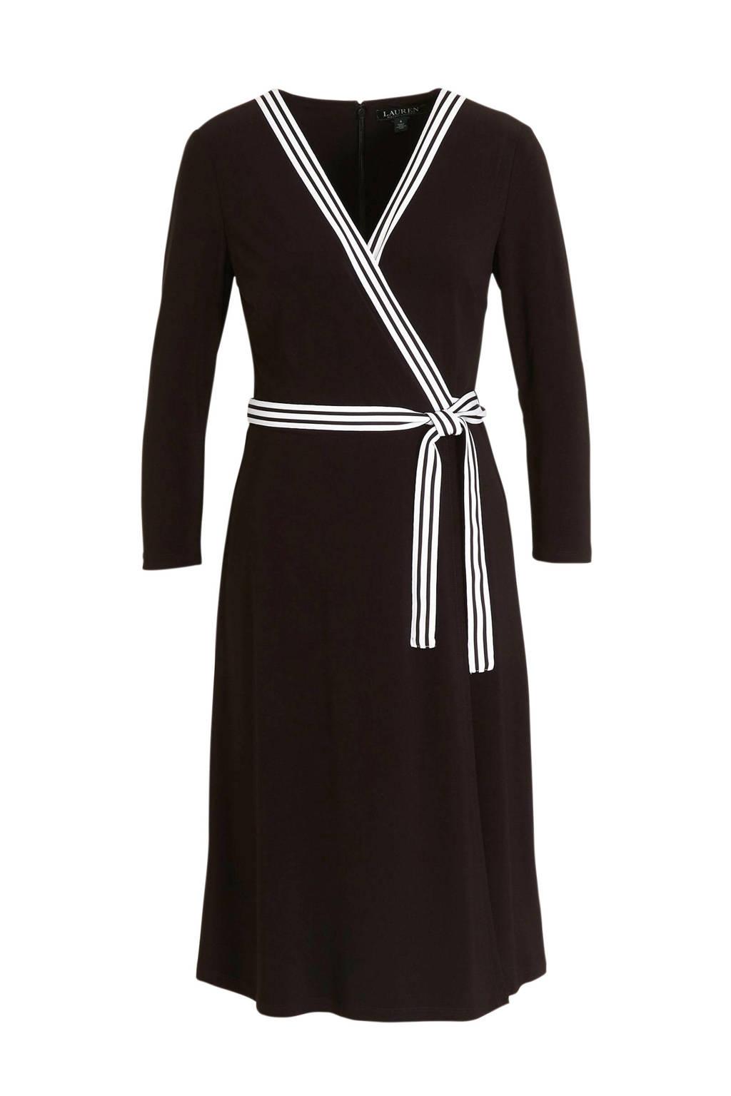 Lauren Ralph Lauren overslagjurk en ceintuur zwart/wit, Zwart/wit