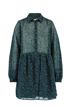 blousejurk Dione met all over print donkerblauw/wit