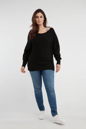 slim fit jeans met zijstreep blauw
