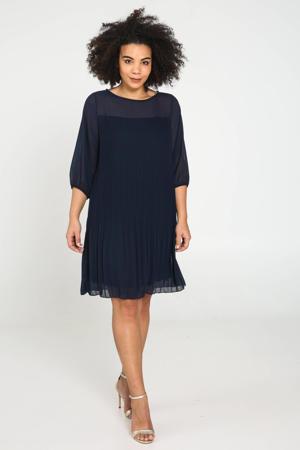 semi-transparante jurk marineblauw