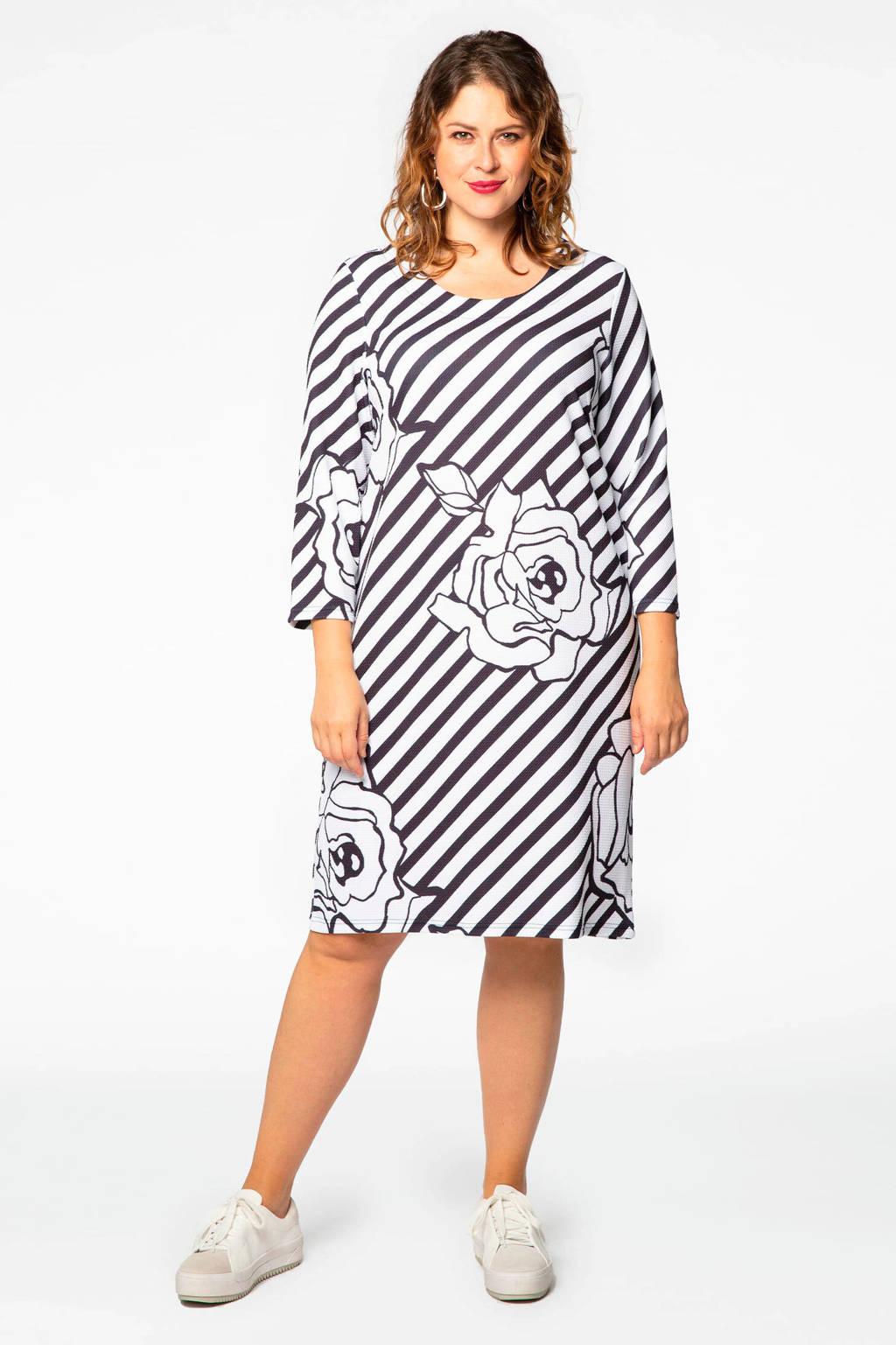 Yoek jurk met all over print wit/blauw, Wit/blauw