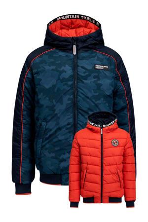 reversible winterjas met camouflageprint donkerblauw/rood