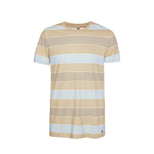WE Fashion gestreept T-shirt beige/wit/lichtblauw