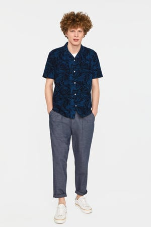 regular fit overhemd met all over print donkerblauw/blauw